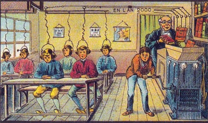 "This image, titled ""At School,"" was created by French artist Jean-Marc Côté around the year 1900 as a vision of education in the year 2000."