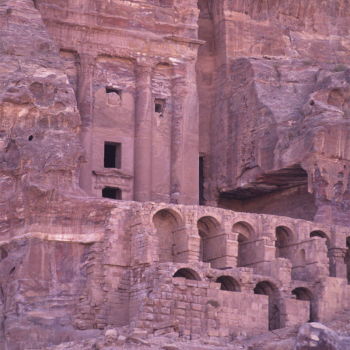 tombs carved into rose red sandstone