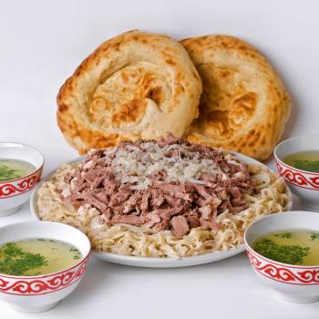 National cuisine Besh-Barmak, Shorpo (the soup) and Lepeshka (bread)