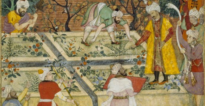 Emperor Babur (1483–1530) superintending the laying-out of a Garden in Kabul. By Bishndas and Nanha, ca. 1590.