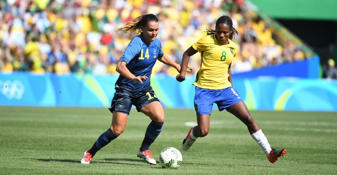 Women's football during the 2016 Olympic Games - match between Brazilian and Swedish national teams